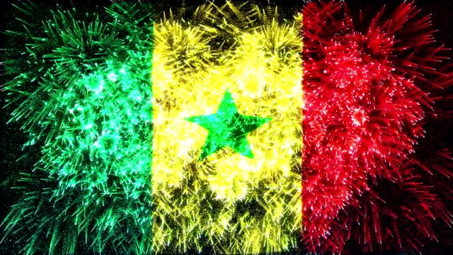 fuochi d'artificio bandiera del senegal - senegal video stock e b–roll