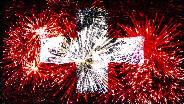 firework display flag of Switzerland video