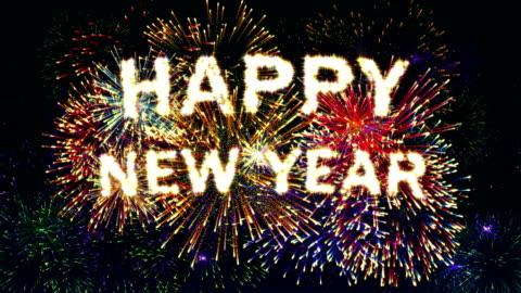 Firework display Happy new year 4K. Firework display Happy new year 4K. happy new year stock videos & royalty-free footage