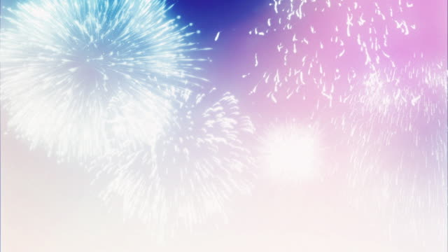 Firework Display on Bright Festive Sky - 4K Fireworks Display on Bright Festive Holiday Background. 4K high definition video. bastille day stock videos & royalty-free footage