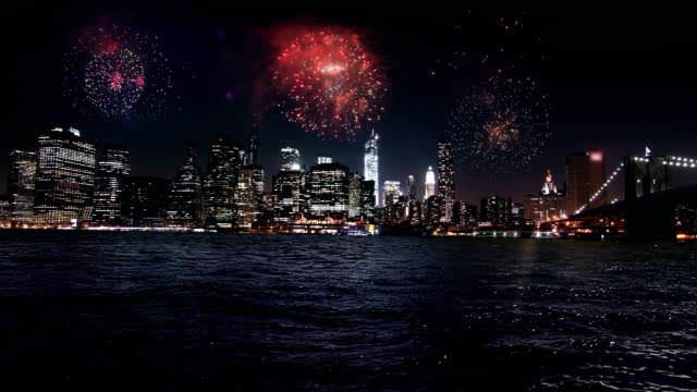 Firework display over Manhattan New York video