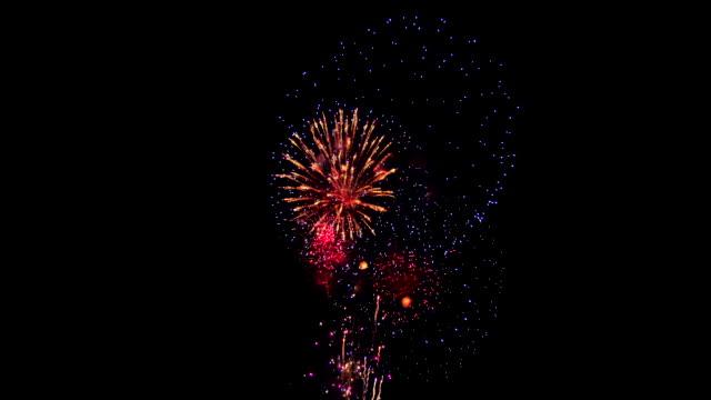 фейерверк в ночном небе - fireworks стоковые видео и кадры b-roll