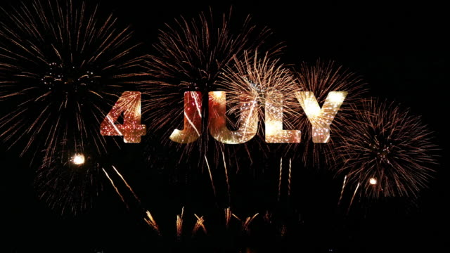 4k. firework of 4th july independence day celebration for united states of america (usa), loop of real golden fireworks festival in the sky display at night with colorful - luglio video stock e b–roll