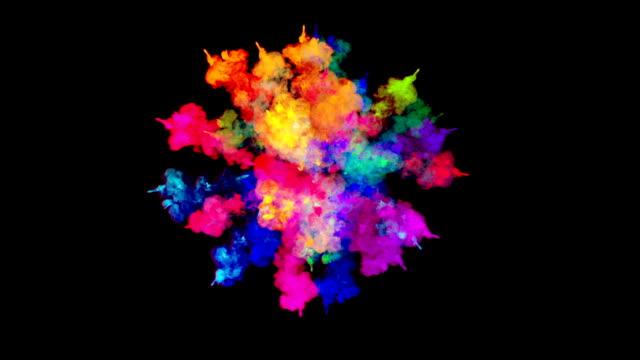 feuerwerk an farbe, explosion der bunte pulver auf schwarzem hintergrund isoliert. 3d animation als farbenfrohen abstrakten hintergrund. farben des regenbogens 4 - haarfarbe stock-videos und b-roll-filmmaterial