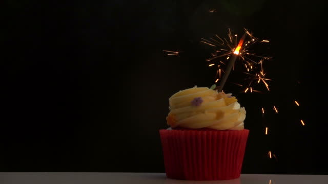 Firework On Cupcake Slow Motion video