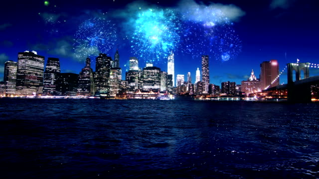 Firework over Manhattan New York video