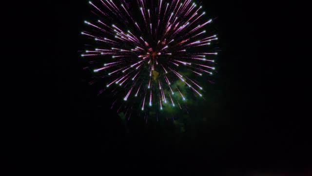 firework slomo single burst . - un singolo oggetto video stock e b–roll