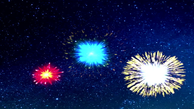 Fireworks against sky with stars video