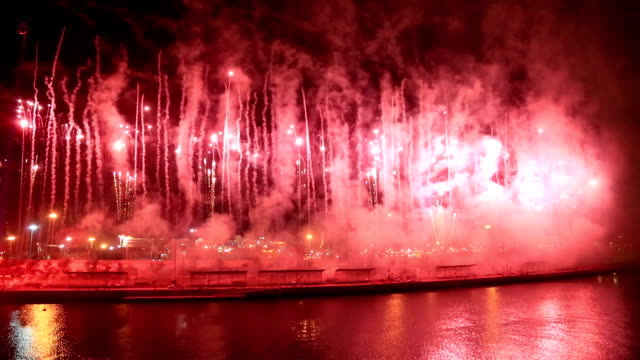 fireworks at valencia harbour, spain - happy 4th of july filmów i materiałów b-roll