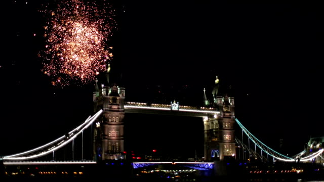 Fireworks behind Tower Bridge in London video