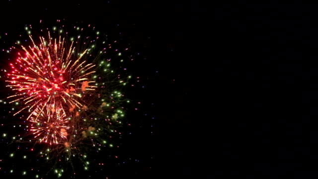 Fireworks bursting show with copyspace video