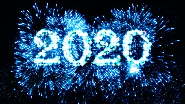 Fireworks Display 2020 Blue 4K. video