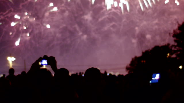Fireworks display and crowd of watchers video