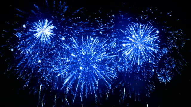 fireworks display blue color - petardo video stock e b–roll