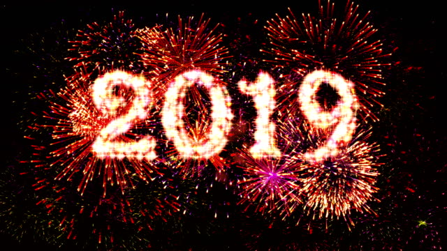 Fireworks Display countdown 2019 Red 4k. video