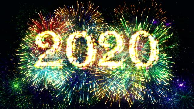 Fireworks Display countdown 2020 4K. video