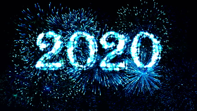 Fireworks Display countdown 2020 Blue 4K. video
