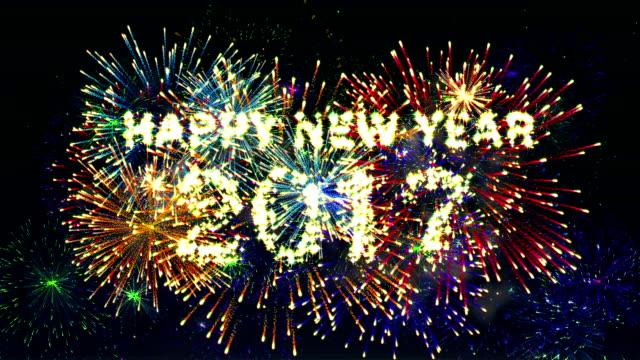 De fogos de artifício feliz Ano Novo de 2017 - vídeo