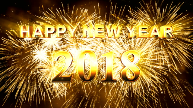 Fireworks Happy new year 2018 gold color video