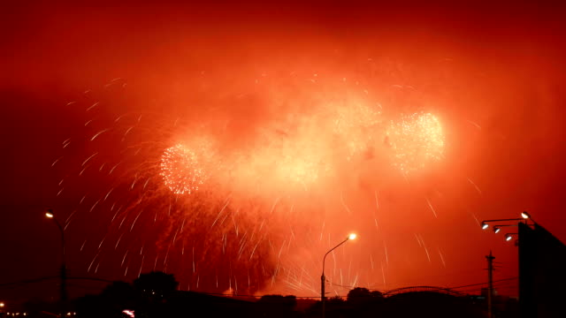 Fireworks in independence day. Belarus. video