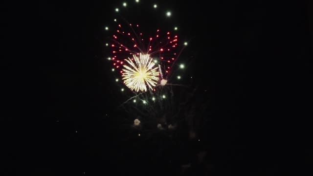 Fireworks in night the sky. Colorful fireworks at holiday night. pyrotechnic effects stock videos & royalty-free footage