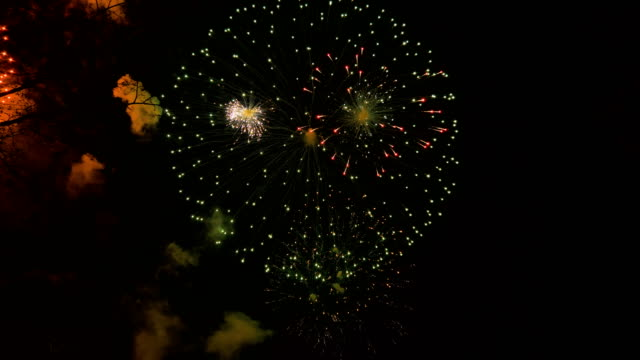 Fireworks in the city, day of Victory - slowmotion 60 fps video