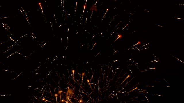 vídeos de stock e filmes b-roll de fireworks in the city, day of victory - slowmotion 60 fps - maio