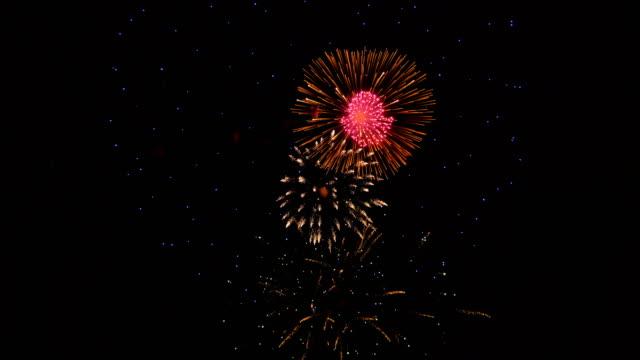 vídeos de stock e filmes b-roll de fireworks in the city, day of victory - maio