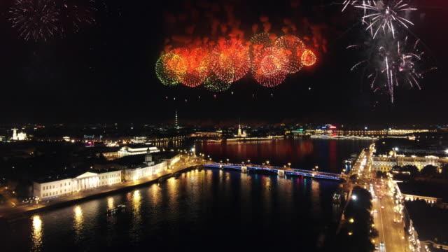 fireworks in the city - treedeo saint petersburg stock videos & royalty-free footage