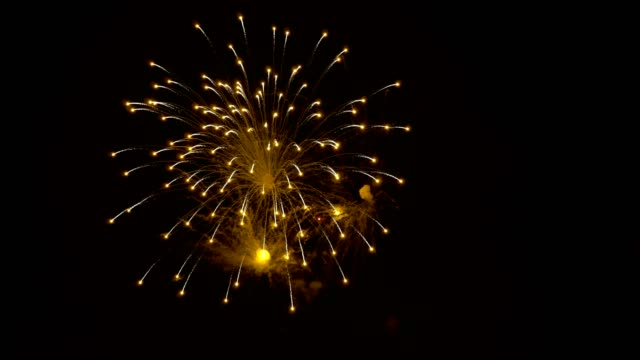 Fireworks in the night sky. Bright yellow flashes in the sky on a black background. City holiday. Closeup. The concept of the celebration. 4K. Fireworks in the night sky. Bright yellow flashes in the sky on a black background. City holiday. Closeup. The concept of the celebration. 4K. petard stock videos & royalty-free footage