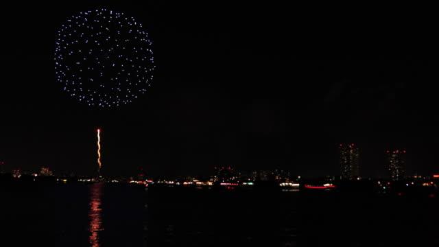 Fireworks near Edogawabashi river in Tokyo copyspace