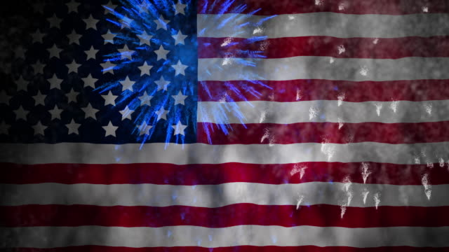 fireworks on waving usa flag for 4th of july celebration - giorno dell'indipendenza video stock e b–roll
