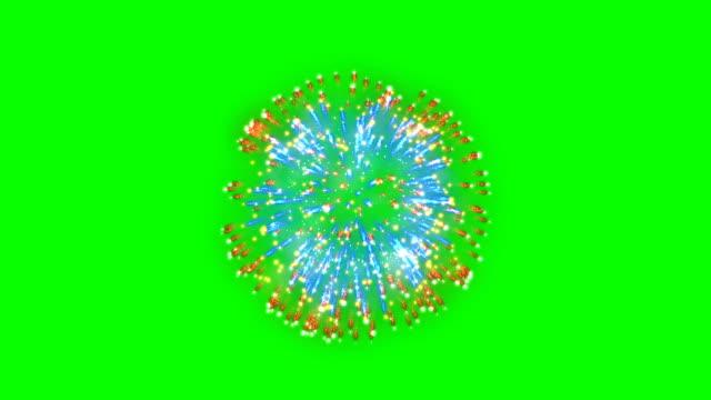 фейерверк, оранжевый и синий фон праздника, зеленый экран chromakey - fireworks стоковые видео и кадры b-roll