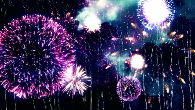雨の日の私の窓の外の花火。 - 謝肉祭点の映像素材/bロール