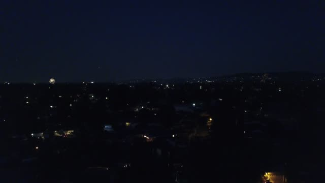 Fireworks over the city aerial view