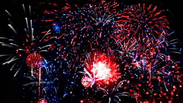 Fireworks - Red, White and Blue SD Fireworks Exploding in the night sky in red, blue and white colours. bastille day stock videos & royalty-free footage
