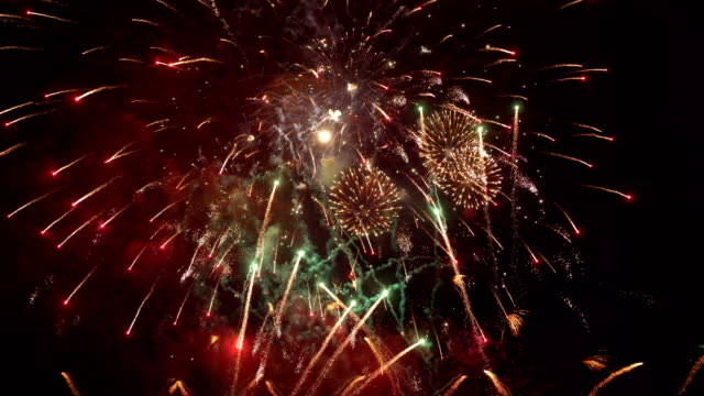 Fireworks show in 4K slow motion video