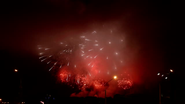 Fireworks show in the cloudy city. video