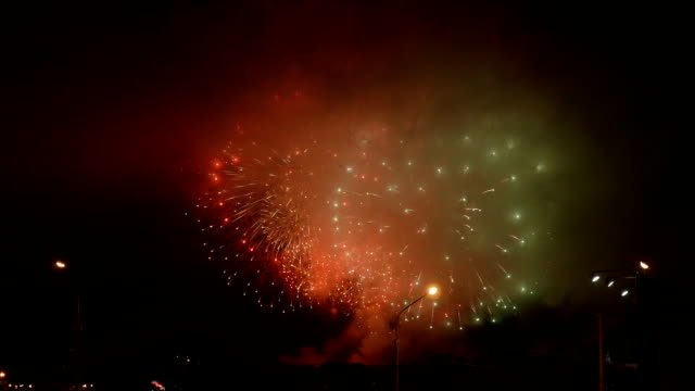 Fireworks show in the evening. video
