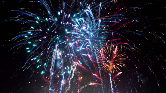 Fireworks Show - Sharp Vibrant Clean 4K UHD LOOP Fireworks Show - Composited with effects in AE - Vibrant colorful fireworks, low noise, super rich blacks. Seamless looping video. fireworks stock videos & royalty-free footage