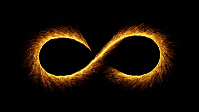 Fireworks slow motion 4k - particles infinity symbol