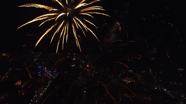 Fireworks sparkling in the night sky, celebration concert, holidays 2021 Fireworks sparkling in the night sky, celebration concert, holidays 2021. happy new year 2021 stock videos & royalty-free footage