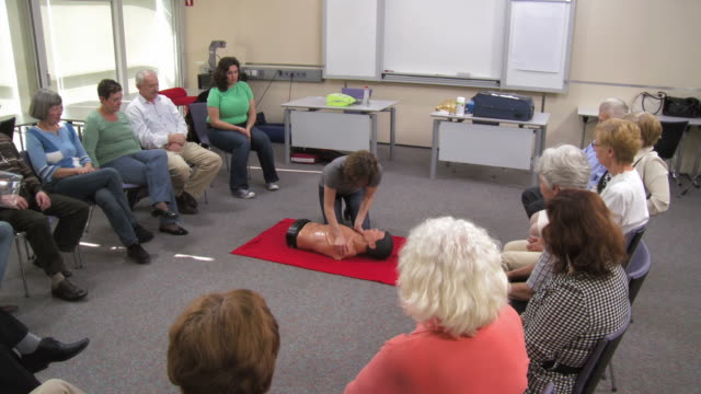 HD: First Aid Instructor Showing Artificial Respiration video