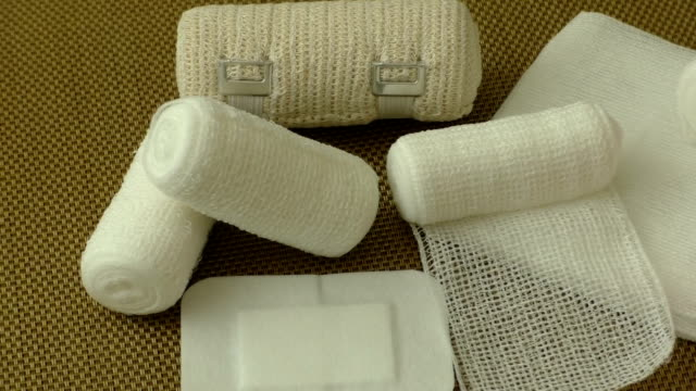 First aid kit with dressing material video
