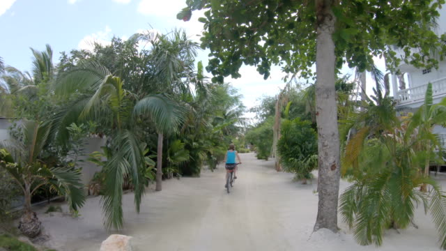 First person perspective casually biking through jungle beachfront scene