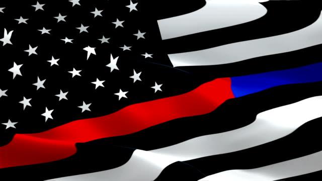 First Responder Flag Wave Loop waving in wind. Realistic Emergency medical responder Flag background. First Responder Flag Looping Closeup 1080p Full HD 1920X1080 footage. First Responder enforcement