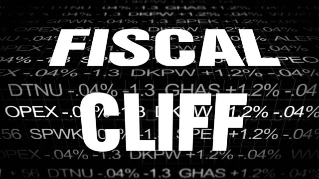 Fiscal Cliff symbolism against wall street stock market ticker financial background video