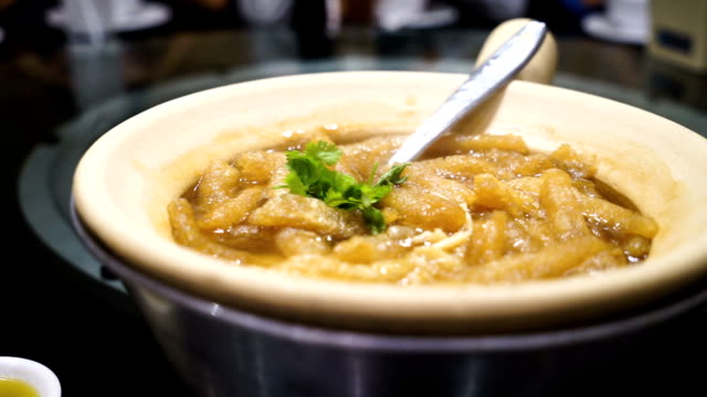 Fish maw soup in bowl video