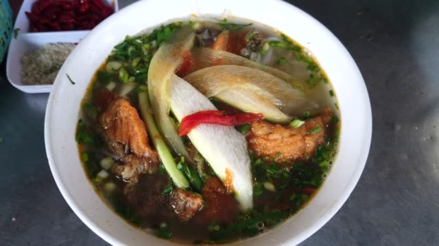 Fish Noodle for breakfast in Vietnam at Vietnam