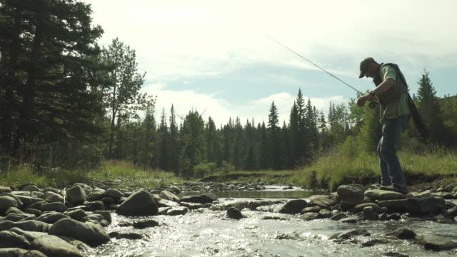 vidéos et rushes de pêcheur traverse le ruisseau bouillonnant sur roches - un seul homme d'âge mûr